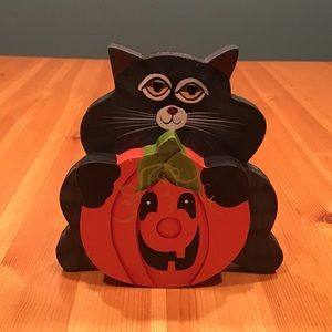 HALLOWEEN BLACK CAT & PUMPKIN WOODEN DECORATION